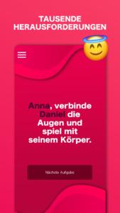 Screenshot der Applikation Spiel für unartige Paare mit einem Beispiel für Herausforderungen